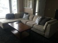 Microfibre sectional with ottoman