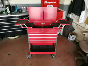 3 Drawer Service Cart, flip up top, articulated drawers