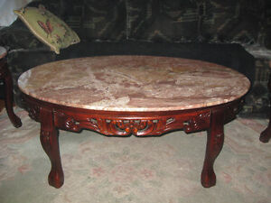 Antique Cherry Wood Marble top table set
