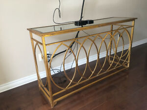Brushed Gold Console Table