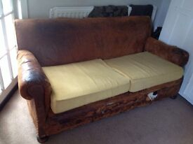 Old distressed leather couch