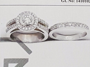 14K Diamond Engagement Ring with Band
