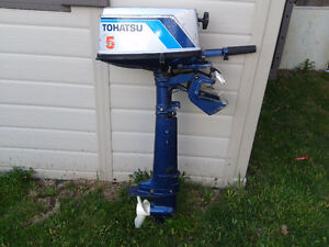 2-stroke Tohatsu 5hp outboard motor, gas tank included