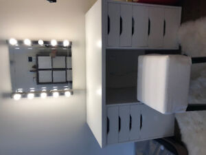 Ikea dresser (Table, chair & mirror with lights)