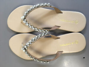 BEAUTIFUL FLAT PEARL AND SPARKLY SANDALS BRAND NEW STILL IN BOX