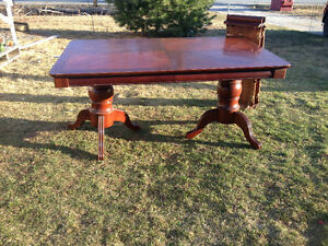 Large double pedestal mahogany wood table-FREE DELIVERY