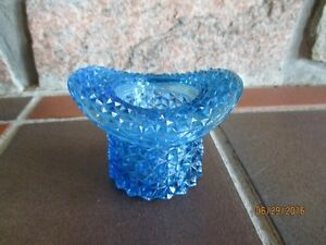 Victorian Pattern BLUE Glass 'Novelty Hat' & 'Novelty Cup'