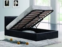 NEW DOUBLE/KING GAS LIFT OTTOMAN STORAGE LEATHER BED WITH WIDE RANGE OF MATTRESSES FOR SALE NOW ON!!
