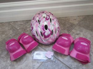 Girls Barbie helmet with knee and elbow pads