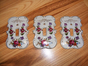 Set of 3 Vintage Porcelain Light Switch Covers