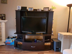 Espresso dark wood tv stand, 60 obo