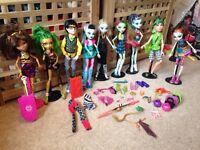 Large collection of Monster High dolls and accessories
