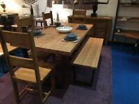 SOLD- - John lewis-Calia 8 seater solid oak dining table and large 3 person bench