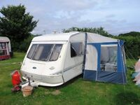 Eldiss Cyclone Vogue 1998 Caravan - 4 Berth, with Motor Mover & Porch Awning.