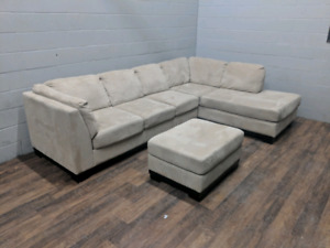 Oakdale microsuede sectional sofa and ottoman. FREE DELIVERY