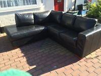 Genuine Black corner sofa in very good condition