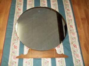 Antique Mirror With Wood Base.