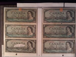 1954 $1 Canadian dollar bills (bank of Canada) paper money