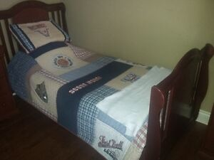 Single Bed Solid Wood With Headboard Matress & Box Spring