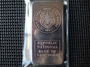 Rare 10 oz JM Republic Bank of NY .999 fine silver bar < 3000