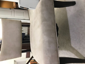Suede wood accent chair