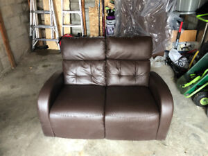 Gently used Brown leather recliner love seat sofa couch
