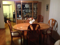 Solid Dining Table, 6 Chairs and Hutch