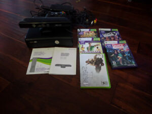 Xbox 360, Kinect, controller with charge cable, games