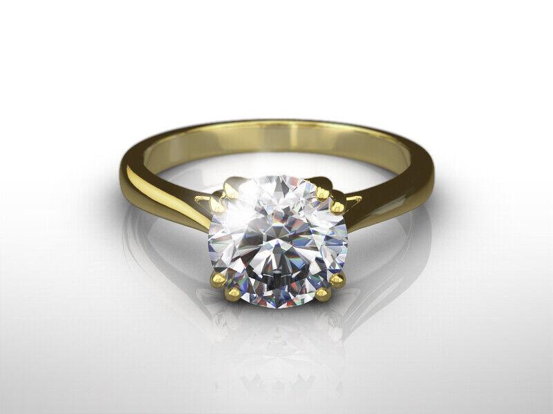 Diamond Ring Round Brilliant 18 Karat Yellow Gold Agi Certified 1 1/2 Carat