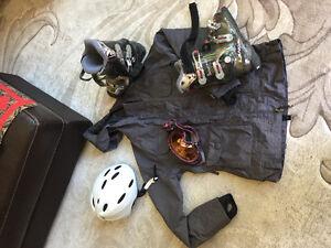 Ski Boots, jacket, goggles, helmet