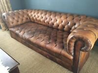 Stunning antique tan honey brown leather button seat chesterfield sofa rare patina