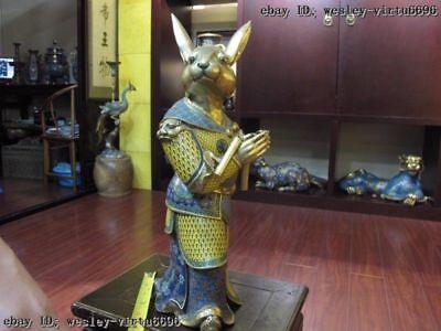 Chinese Palace purple Copper Bronze cloisonne 24K Gold Gilt Zodiac rabbit Statue