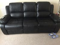 Black leather recliner and swivel chair