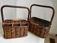 2 solid rattan baskets