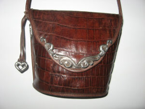 Brighton Croc Embossed Leather Bucket Bag / Purse