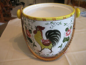 COLOURFUL ROOSTER-DESIGN DECORATIVE BAILED CHINA PLANTER