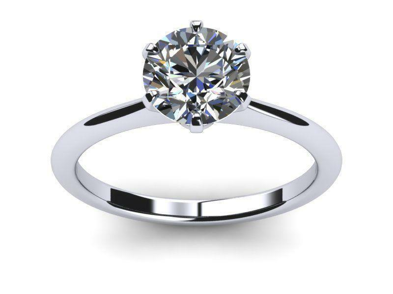 Diamond Round Ring Flawless Vs1 D Solitaire 18 Kt White Gold Colorless Smooth