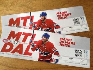 2 billets du Canadien Montréal