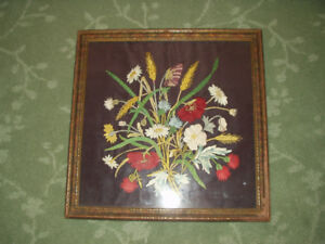 ANTIQUE Turn of the Century EDWARDIAN EMBROIDERY Poppies & Wheat