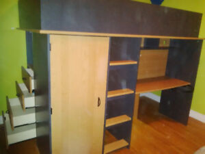 O'Sullivan Twin Loft Bed and Matching Bookcase