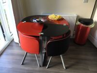 Dining kitchen table/chairs, red/black
