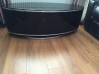 SOLD - Luna Black High Gloss Oval Cabinet - holds sceens up to 50 inches