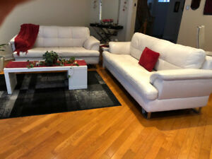 2 couches, 2 tables, white in colour