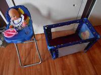 winnie the pooh highchair. playpen doll