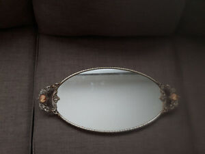 Vintage 24k gold plated mirror tray with cameo Gatineau Ottawa / Gatineau Area image 1