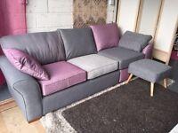 New Next Brand Garda Modular Sofa with Footstool in Raspberry and Grey