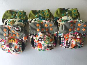 6 All in One Bamboo Charcoal Cloth Diapers + 3 extra Inserts