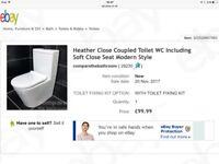 Brand New Close Coupled Soft Close Toilet