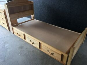 SOLID PINE CAPTAINS BED AND MATTCHING DRESSER