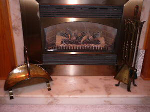 ANTIQUE BRASS FIREPLACE TOOLS, STAND, & MATCHING WOOD HOLDER